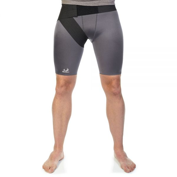 Compression shorts with groin wrap